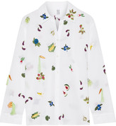 Rosie Assoulin Salad Bar Embroidered Cotton-voile Shirt - White