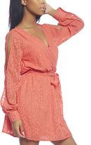 Arden B Sheer Pattern Open Back Dress