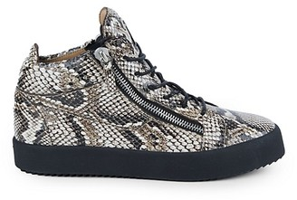 Giuseppe Zanotti Maskenada Embossed Snakeskin Leather Double Zip High-Top Sneakers
