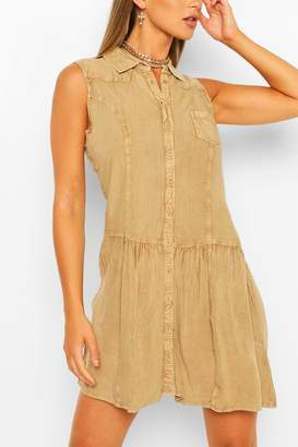 boohoo Denim Wash Button Through Sleeveless Dress