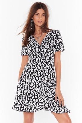 Womens Born Wild Satin Leopard Mini Dress - black - 4