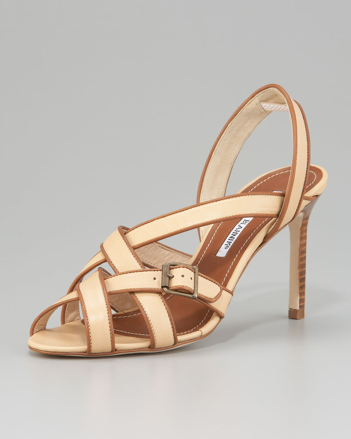 Manolo Blahnik Forum Crisscross Two-Tone Sandal
