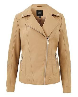 Capsule Camel Faux Leather Biker Jacket