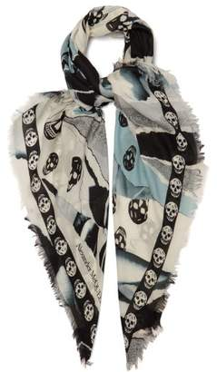 Alexander McQueen Skull And Rose-print Scarf - Womens - Blue