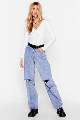 Nasty Gal Womens Raw the Sign Relaxed Distressed Jeans - Light Blue