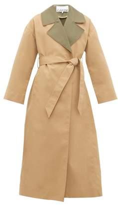 Ganni Contrast Collar Tie Waist Trench Coat - Womens - Beige