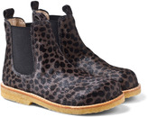 Angulus Black and Grey Pony Leather Chelsea Boots