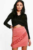 boohoo Darcy Lace Ruffle Front Mini Skirt