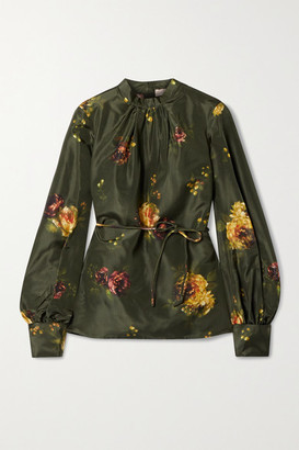 Brock Collection Open-back Floral-print Silk-taffeta Blouse - Army green