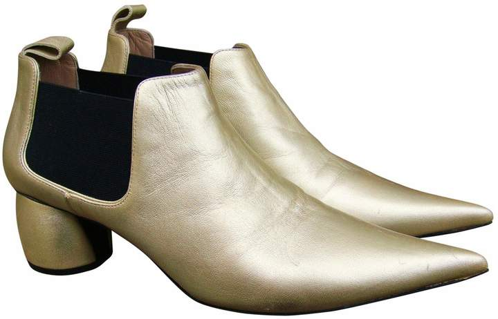 Marc Jacobs Gold Leather Ankle boots
