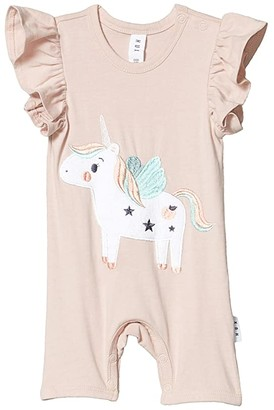 HUXBABY Unicorn Short Frill Romper (Infant) (Blush) Girl's Jumpsuit & Rompers One Piece