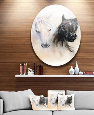 "White Horse Designart 'Black And Heads' Animal Circle Metal Wall Art - 23"" x 23"""