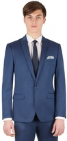 Red Herring Bright Blue Micro Slim Fit 1 Button Suit Jacket