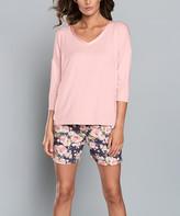 Italian Fashion Women's Sleep Bottoms pink - Pink Powder Floral Kalisja Pajama Shorts Set - Women