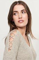 Dynamite V-Neck Lace Up Sweater