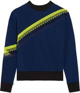 Christopher Kane Crochet-trimmed Scuba-jersey Sweatshirt - Navy
