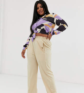 BEIGE Pink Clove wide utility leg pants with button detail in
