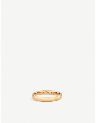 De Beers Women's White Wide Court Pink-Gold Wedding Band, Size: 54mm