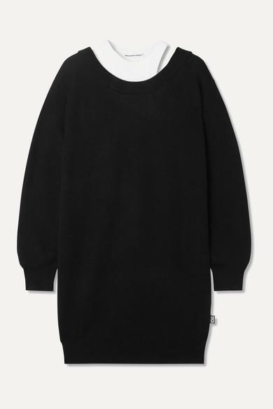 alexanderwang.t Layered Merino Wool And Stretch-cotton Jersey Mini Dress - Black