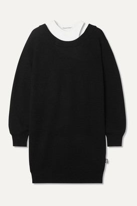 Alexander Wang Layered Merino Wool And Stretch-cotton Jersey Mini Dress - Black