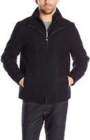 London Fog Men's Wool Blend Stand Collar Jacket with Bib