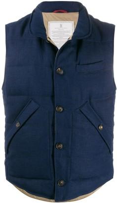 Brunello Cucinelli Buttoned High-Collar Gilet