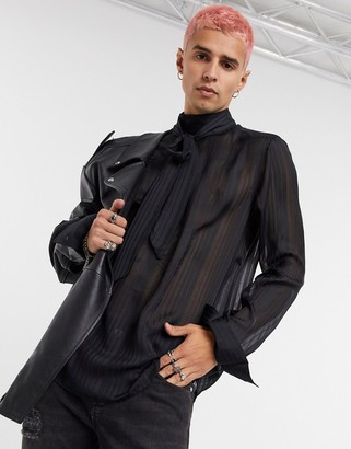 ASOS DESIGN regular fit shirt in sheer stripe with extreme pussy-bow tie neck in black