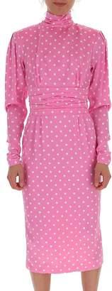 Alessandra Rich Turtleneck Polka Dot Midi Dress