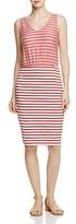 Three Dots Contrast Stripe Sleeveless Dress