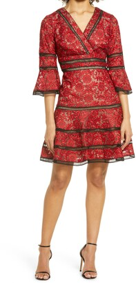 Shani Embroidered Lace Fit & Flare Cocktail Dress