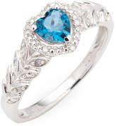 Rina Limor Fine Jewelry Women's 10k White Gold Blue Topaz - London and Diamond Halo Heart Ring