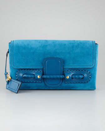 Alexander McQueen Suede Fold-Over Clutch Bag, Prussian Blue