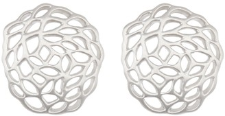 Breuning Sterling Silver Cutout Round Stud Earrings
