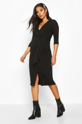 boohoo Maternity Button Front Tie Waist Midi Dress