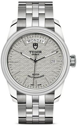 Tudor Glamour Date + Day Stainless Steel and Silver Watch 39mm