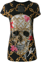 Philipp Plein chain crystal skull T-shirt - women - Cotton/Crystal - XS