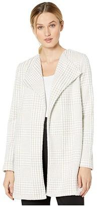Calvin Klein Houndstooth Flyaway Jacket (Latte/White) Women's Coat