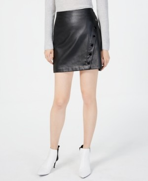 INC International Concepts Inc Faux-Leather Wrap Skirt, Created for Macy's