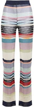 Missoni Metallic Striped Crochet-knit Flared Pants