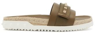 Valentino Rockstud Espadrille Leather Slides - Khaki