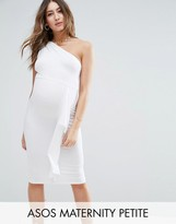 Asos Petite Knot One Shoulder Ruffle Side Midi Dress