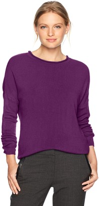 Sag Harbor Women's Petite Long Sleeve Crew Neck W/Hi-lo Hem Pullover