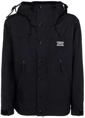 Burberry Logo Applique Technical Twill Hooded Jacket