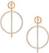 Swarovski Crystal & Rose Gold Hoop Earrings- 2in