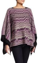Missoni Knit Zigzag Poncho, Purple/White