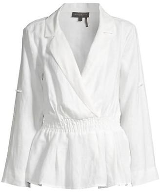Donna Karan Collared Linen Shirt