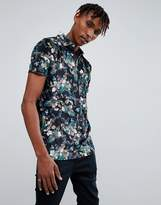 Asos Polo With Revere Collar In Floral Velour