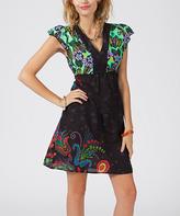 Aller Simplement Black & Green Abstract Cap-Sleeve Dress