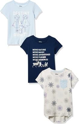 Spotted Zebra Junior's Standard Disney 3-Pack Short-Sleeve Novelty T-Shirts Frozen Destiny Small (6-7)