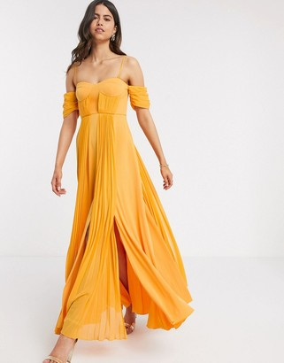 ASOS DESIGN cup detail bardot detail chiffon overlay pleated maxi dress in golden yellow